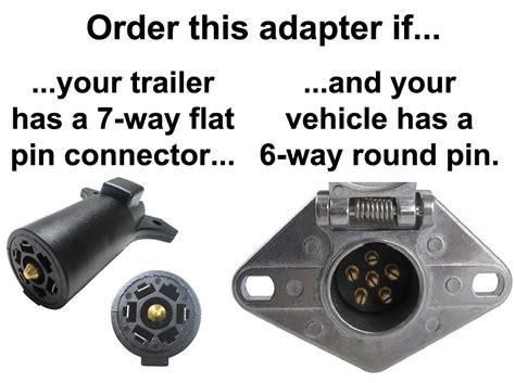 6 way pin to 7 way flat pin connector adapter