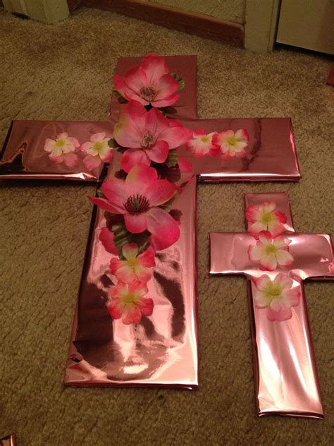 baptism decorations cardboard flowers from dollar tree shiny pink wrapping paper from