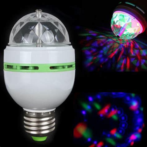 3w e27 rgb color led bulb auto rotating stage effect