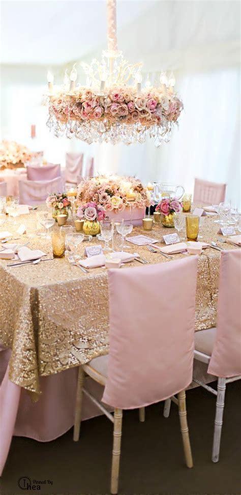 gold  peach  wedding decoracion de unas mesas de