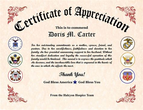 military wife appreciation certificate veterans day
