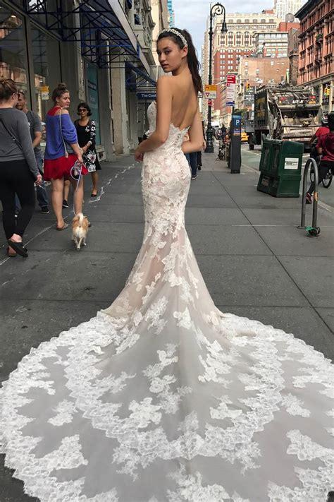 sweetheart mermaid white lace long wedding dress  train