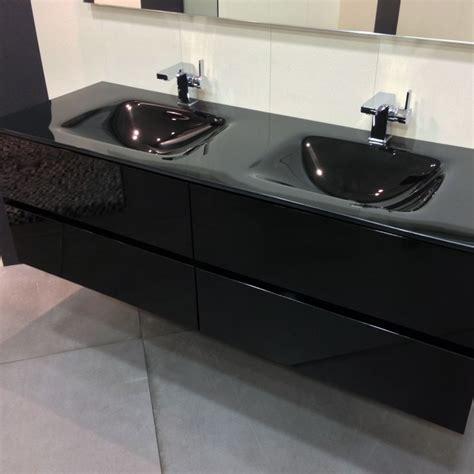 meuble salle de bain laque noir meuble salle de bain noir 150 cm 4 tiroirs plan verre glass