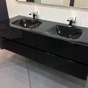 Meuble Evier Salle De Bain : meuble salle de bain noir 150 cm 4 tiroirs plan verre glass ~ Dailycaller-alerts.com Idées de Décoration