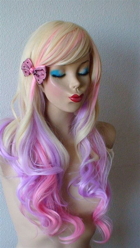 Blonde Pink And Lavender Color Ombre Wig Long Wavy By