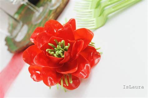 fiori con cucchiai di plastica come fare un fiore con posate di plastica is