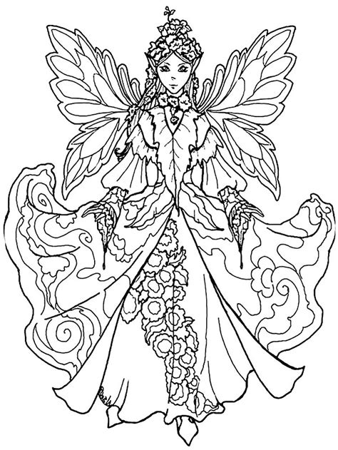 Queen Elf Fairy Coloring Page Free Printable Coloring