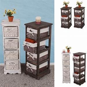 Kommode Mit Regal : regal kommode mit korbschubladen shabby look vintage braun wei ebay ~ Orissabook.com Haus und Dekorationen