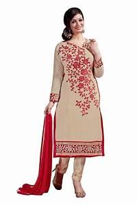 Shop Beige Colour Chanderi Embroidery Designer Dress