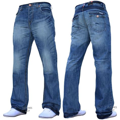 Bnwt New Mens Designer Bootcut Flared Wide Leg Denim Jeans