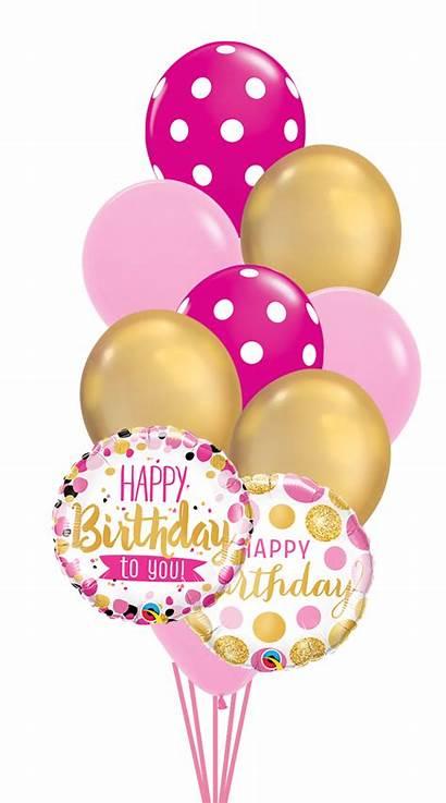 Dots Birthday Happy Balloons Balloon Bouquet Pinkgold
