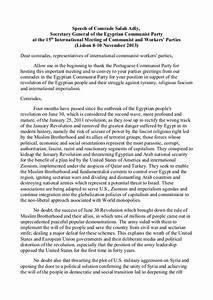 Speech of comrade salah adly, secretary general of the ...