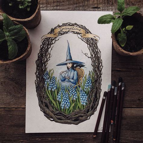 fairytale inspired color pencil drawings  russian artist