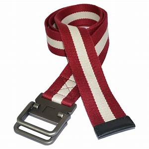 Zeus Mens Red And White Cotton Canvas Webbing Belt With