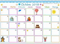Calendario Multicolor Octubre 2018, Calendario