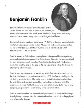 benjamin franklin text organizer printable graphic