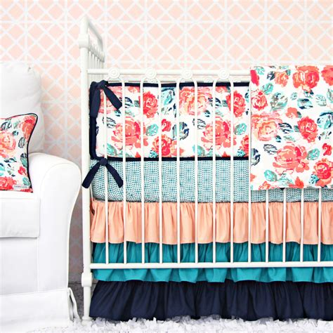 navy and coral baby bedding caden giveaway project nursery