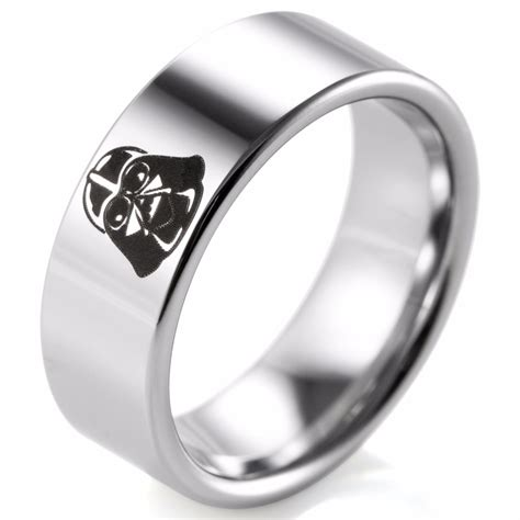 darth vader wars villains logo tungsten carbide comfort fit ring silver rings