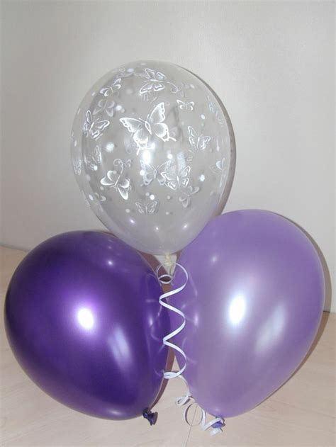 purple lilac clear printed butterfly wedding balloons