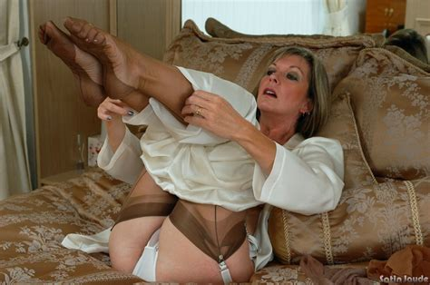 Clothed Mature Woman Satin Jayde Undressing To Show Lace