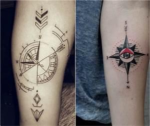 Dessin Fleche Tatouage : kompass tattoo bedeutung der motive bilder und coole designs ~ Melissatoandfro.com Idées de Décoration
