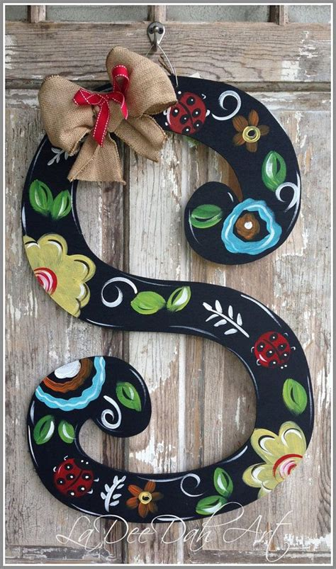 monogram letter initial door decor door art spring  ladeedahart  door decorations