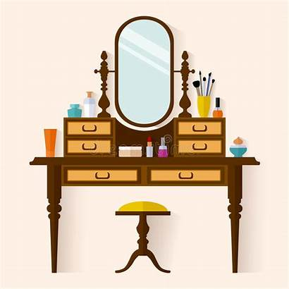 Dressing Table Vector Boudoir Woman Illustration Flat