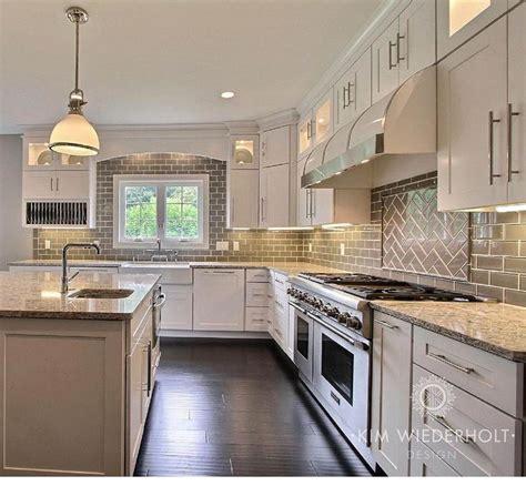 gray  white kitchen design  shaker cabinets gray glass subway tile backsplash gray