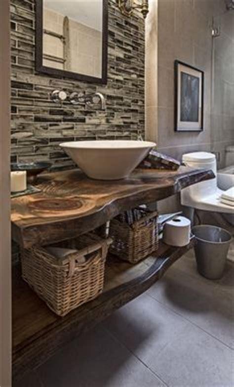 open concept bathroom vanity rustic industrial style