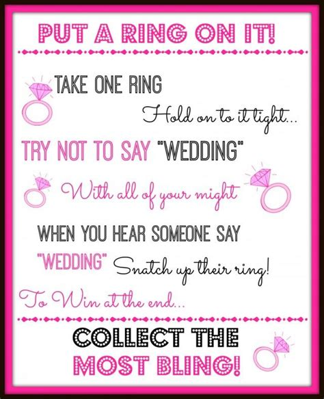 Cute Bridal Shower Themes by Put A Ring On It Bridal Showeror Bachelorette Party Game