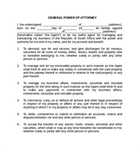 printable power of attorney forms 10 blank power of attorney forms to sle