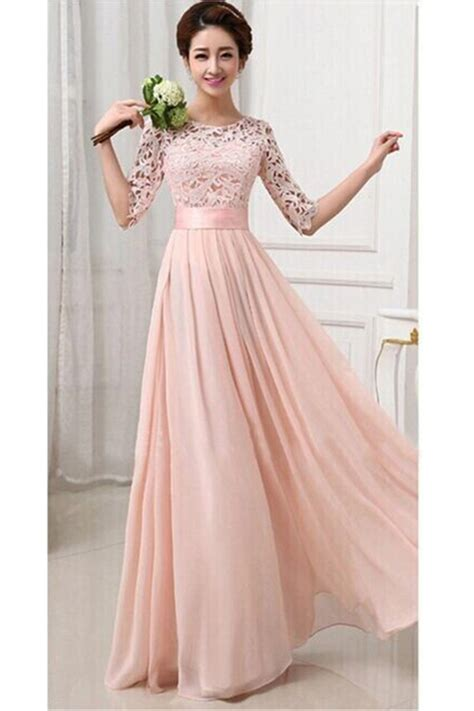 pink womens lace chiffon pleated  sleeve maxi evening