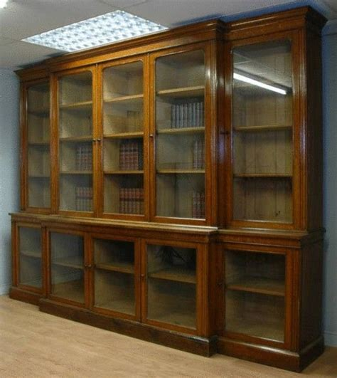 Library Bookcase With Glass Doors by Vintage Library Bookcase 11ft Oak Antique
