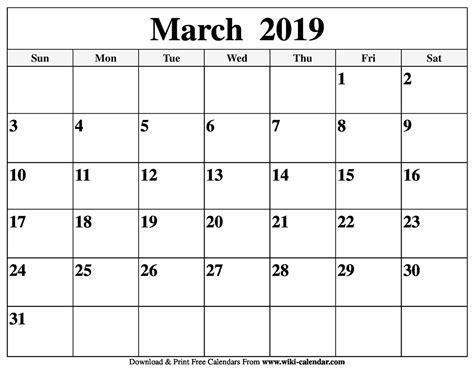 blank march  calendar printable