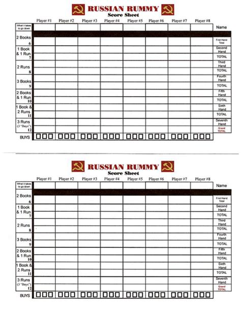 printable shanghai rummy score sheets  search