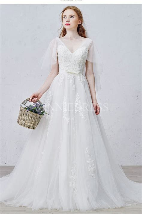 shop discount elegant butterfly sleeve a line tulle chapel