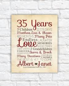 wedding anniversary gifts for parents best 25 35th wedding anniversary ideas on