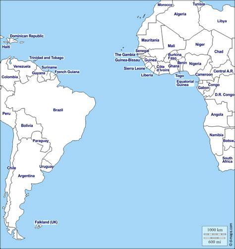 Southern Atlantic Ocean free map, free blank map, free ...