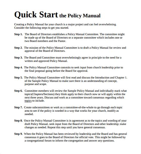 sample policy manual template  documents   word