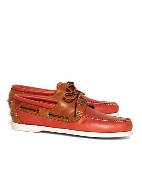 Brooks Brothers Boat Shoes by Lyst Brooks Brothers Boat Shoes In Orange For Men