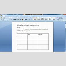 How To Use Tables In Word To Create A Worksheet  Introduction Youtube