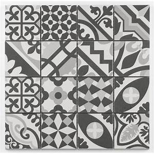 mosaique style imitation de ciment grise taille 8x8 cm sur With carreau ciment gris