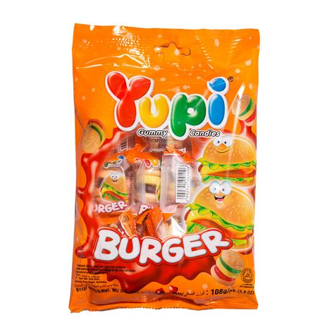 Yupi Gummy Candies Sour yupi mini burger gummy 108g from redmart