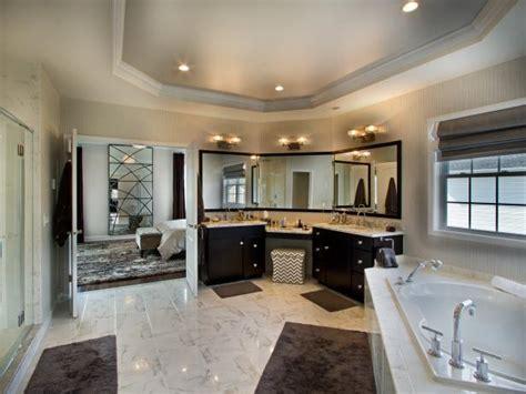 neutral contemporary bathroom  tray ceiling hgtv