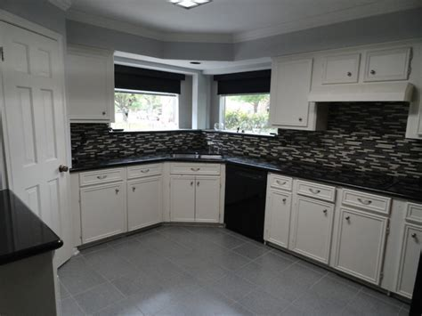 Kitchen, glass mosaic tile, floor tile, paint, before and