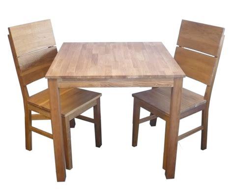 Kleine Tischgruppe Tisch + 2 Stühle Eiche Massiv Geölt