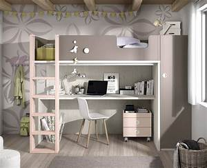 chambre ado composee dun lit haut meubles ros meubles ros With tapis chambre ado avec matelas livré en 24h