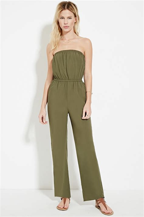 strapless jumpsuit forever 21 strapless jumpsuit in green lyst