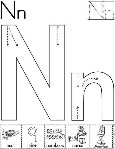 letter n worksheet letter nn for