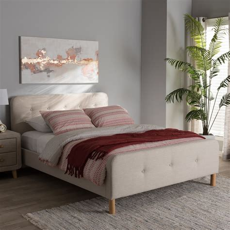 6134 baxton studio king bed baxton studio samson mid century light beige fabric
